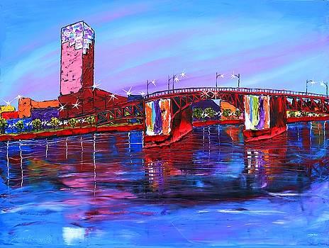 City Lights Over Morrison Bridge #3 by Portland Art Creations