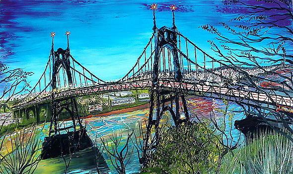 City Lights Over St. Johns Bridge 1 by Portland Art Creations