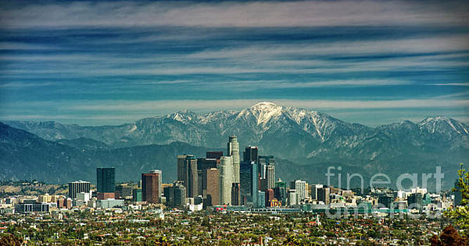 City of Angeles Snow Capped Mountain by David Zanzinger