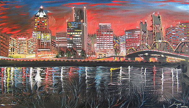 City Of Portland Lights 1 by Portland Art Creations