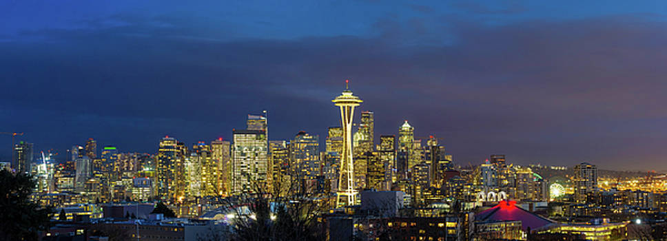 City of Seattle during Evening Blue Hour Panorama by David Gn