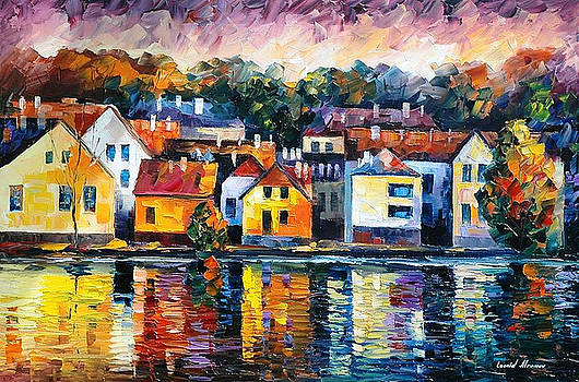 City On River - PALETTE KNIFE Oil Painting On Canvas By Leonid Afremov by Leonid Afremov