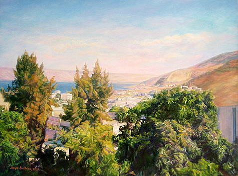 City on the shore of Lake Kinneret  by Maya Bukhina