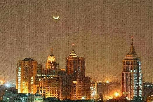 City Skyline With Half Moon by Subesh Gupta