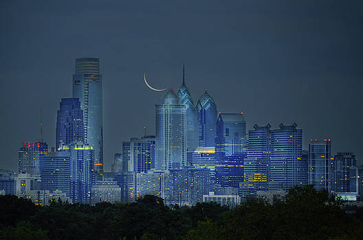 Cityscape - Philadelphia Pennsylvania- Cresent Moon by Bill Cannon