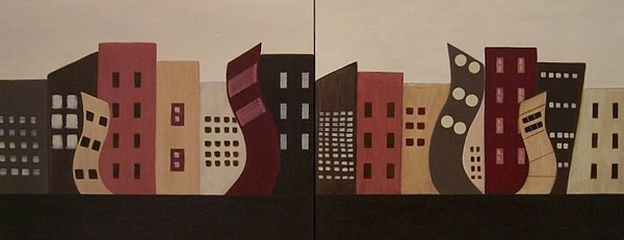 Cityscapes on the Horizon...Set of Two by Sandy Bostelman