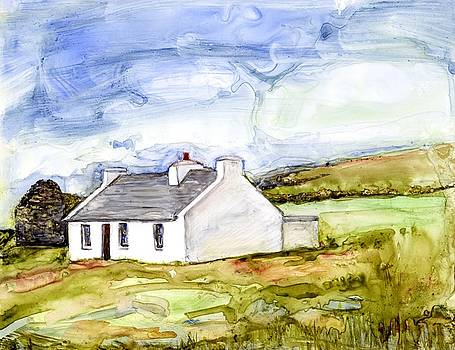 Clare Island Cottage Watercolor by Kathleen Barnes