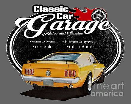 Classic Car Garage with Mustang by Paul Kuras