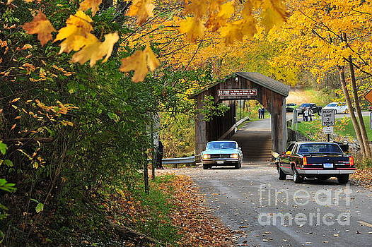 Terri Gostola - Classic Cars Crossing the Fallasburg Covered Bridge