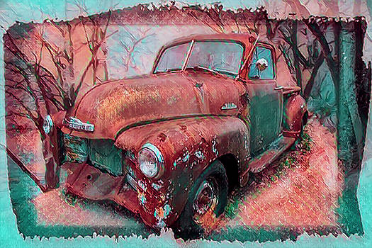 Classic Chevy Pickup Truck in Turquoise and Rust by Debra and Dave Vanderlaan
