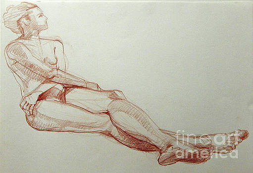 Classic Life Drawing of a Young Female Nude with Crossed Arms by Greta Corens