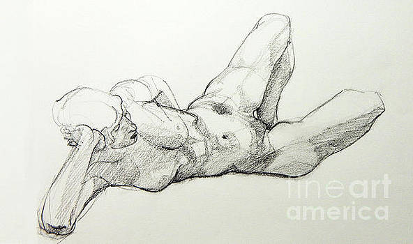 Classic Life Drawing of a Young, Relaxed Female Nude Listening by Greta Corens