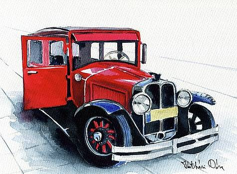Classic Red Pontiac Car 1930 by Dora Hathazi Mendes