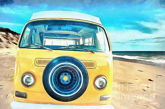 Edward Fielding - Classic VW Camper on the Beach