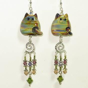 Classy Cats Dangle Earrings by Cheryl Brumfield Knox