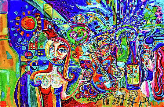 City At Night Music And Wine Abstract by Genevieve Esson