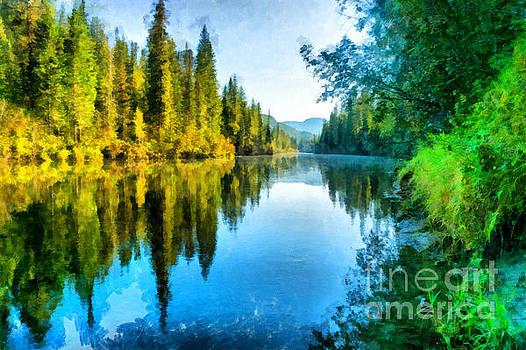 Clear and quiet river Nichka. Siberia, Krasnoyarsk region, Russia by Magomed Magomedagaev