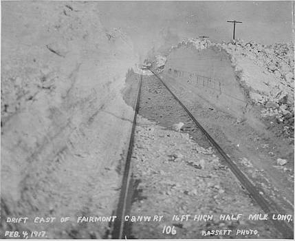 Chicago and North Western Historical Society - Clearing Snow Drift From Tracks - 1917