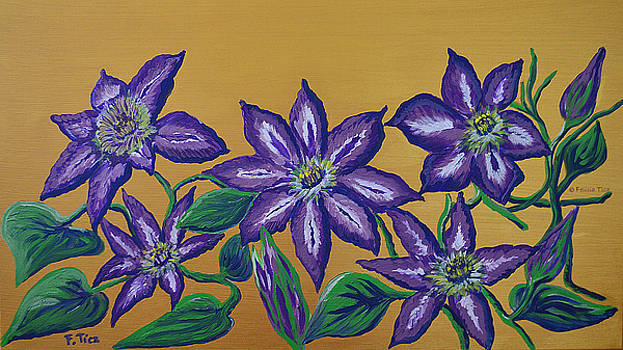 Clematis on Gold by Felicia Tica