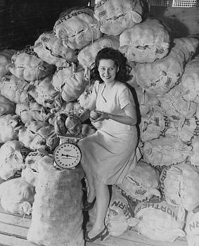 Chicago and North Western Historical Society - Clerk Seated in Mountain of Spuds on Wood Street