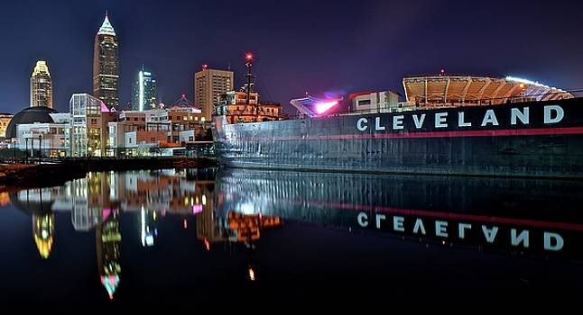 Cleveland Lakefront Pano Reflection by Frozen in Time Fine Art Photography