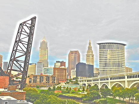 Cleveland, Ohio Photopainting West Bank View by Nancy Spirakus
