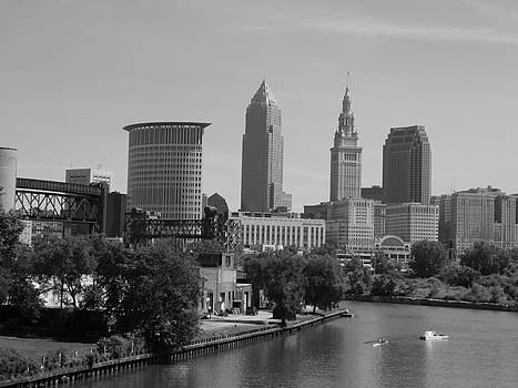 Cleveland Ohio Rolling on the River BW by Nancy Spirakus