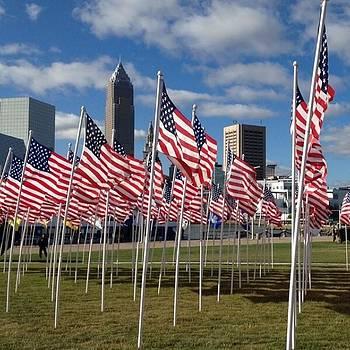 #cleveland #skyline #flag #ohio by Pete Michaud