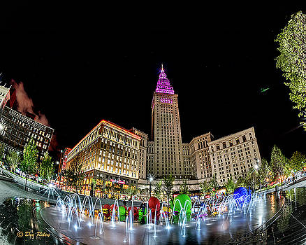 Cleveland Terminal Tower and Fountain by Dee Riley