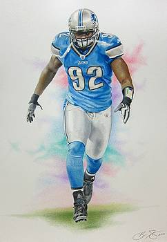 Cliff Avril Colored Pencil by Brian Duey
