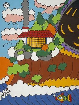 Cliff House Over Ocean by Rojax Art