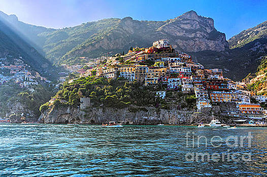 Cliff side Town of Positano Viewed from the Sea by George Oze
