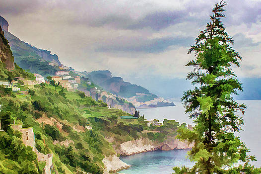 Lisa Lemmons-Powers - Cliffs and Tree on Amalfi Coast