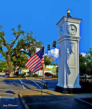 Clock Tower and Flag Conway South Carolina by Joey OConnor