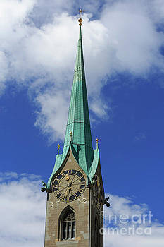 Clock tower of Fraumunster in Zurich Switzerland by Louise Heusinkveld