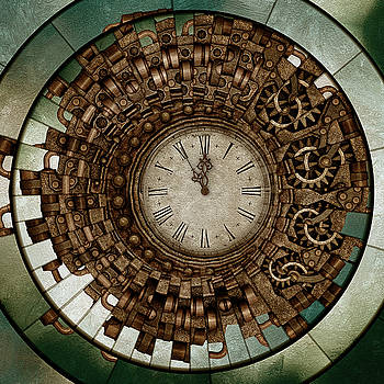 Clock Works In Time Grunge Art by Isabella Howard