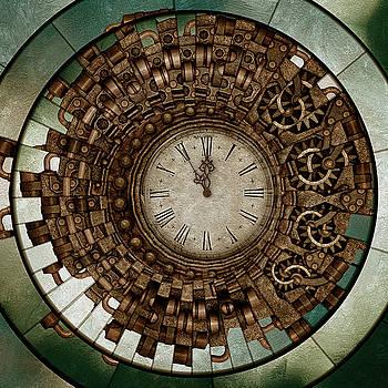 Clock Works In Time Grunge Art by Georgiana Romanovna