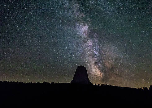 Close Encounter with the Milky Way at Devil's Tower by M C Hood