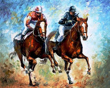 Close Race - PALETTE KNIFE Oil Painting On Canvas By Leonid Afremov by Leonid Afremov