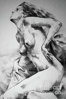 Dimitar Hristov - Close-Up Charcoal Drawing Leaning Pose Woman