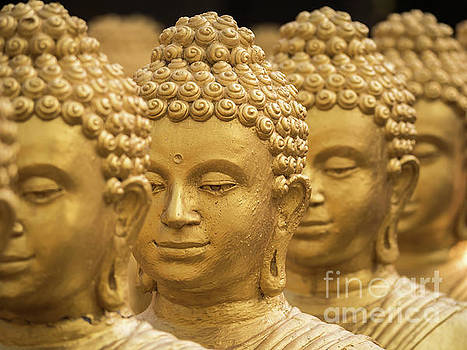 Close-up on head buddha statue, soft focus. by Tosporn Preede