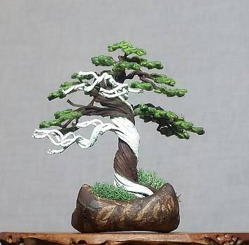 Cloth-wrapped Wire tree sculpture by Rick Skursky by Ricks Tree Art