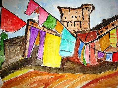 Cloths are getting dried out side by Sonali Singh