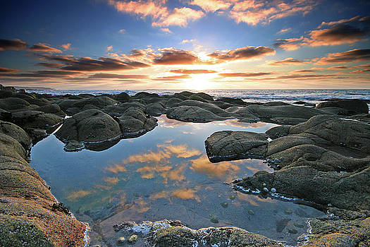 Cloud reflections Cot Valley West Cornwall at sunset by Mark Stokes