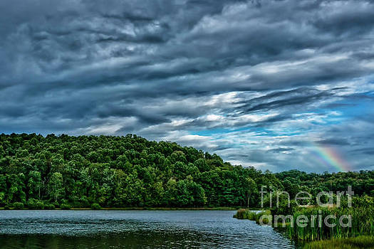 Clouds and Rainbow over Lake by Thomas R Fletcher