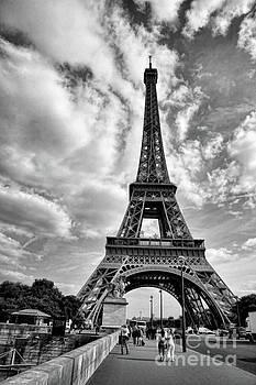 Chuck Kuhn - Clouds Eiffel Tower BW