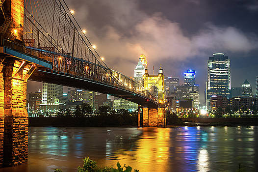 Clouds over the Cincinnati Skyline - Night Cityscape by Gregory Ballos