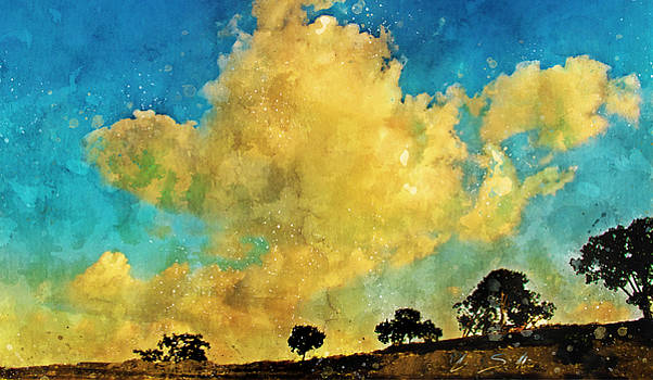 Clouds Over the Treeline Ink and Watercolour Sketch by Chas Sinklier