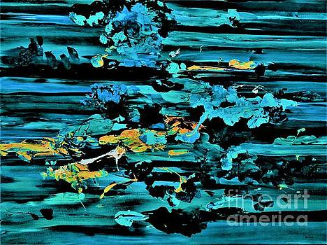 Clouds Over Turbulent Waters Abstract with Rice Paper by Eloise Schneider