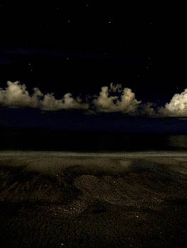 Cloudy Beach at Night by Ron Enderland